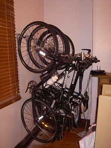 Four bikes on racks