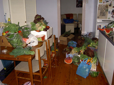 Our dining room, full of fruit and veg