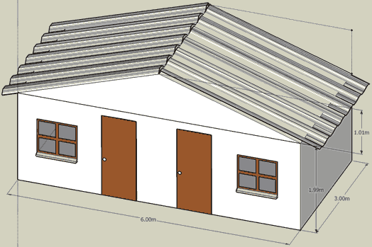 Very rough draft drawing of our shed