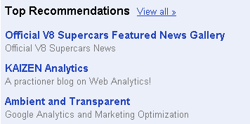 Google Reader recommends V8 Supercars
