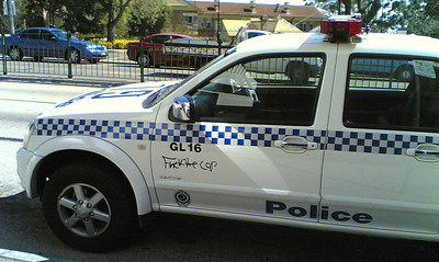 NSW Police car with Fuck The Cop written on it